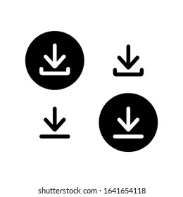Downloading set icon. Black arrows icons. Download sign. Vector illustration for web.
