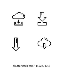 Downloads signs. Set icon EPS 10 vector format. Professional pixel perfect black & white icons optimized for both large and small resolutions. Transparent background.