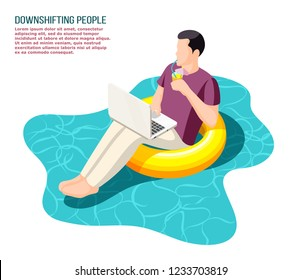 Downshifting escaping office people  working with notebook sitting relaxed on floating swim ring isometric composition vector illustration