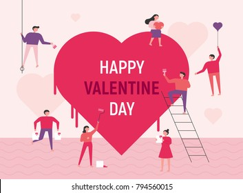 Downsizing characters that paint huge hearts. Valentine card. vector illustration flat design