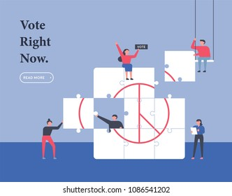 downsizing people built vote stamp puzzle. flat design style vector illustration set