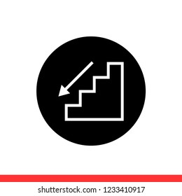Downstairs vector icon, arrow symbol. Simple, flat design for web or mobile app