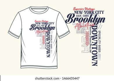Downtown Brooklyn t-shirt and apparel design. typography creative, Vectors