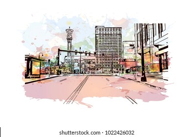 Downtown buildings with road of Atlanta City in Georgia, USA. Watercolor splash with Hand drawn sketch illustration in vector.