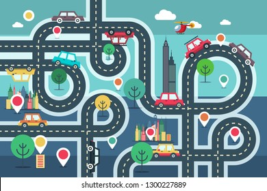 Downtown City Map with Pins and Cars on Road Vetor Flat Design Illustration