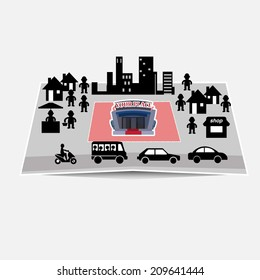 downtown, city on the papermap - vector illustration