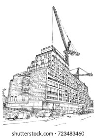 Downtown construction sites. Town real estate idea flyer illustration. Cityscape sketch. Architecture new building condo construction. Vector.