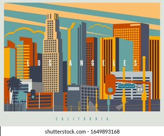 Downtown Los Angeles in der Vektorillustration. Stadtlandschaft von LA in Retro-Farben und Stilisierung, Vintage Design-Illustration. Kalifornien, USA