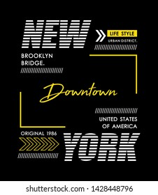 Downtown New York sport typography design, t-shirt graphics, vector illustration