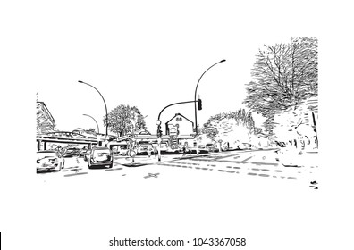 Downtown road and building view of Hamburg, a major port city in northern Germany, is connected to the North Sea by the Elbe River. Hand drawn sketch illustration in vector.