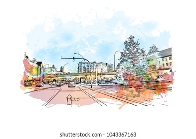 Downtown road and building view of Hamburg, a major port city in northern Germany, is connected to the North Sea by the Elbe River. Watercolor splash with Hand drawn sketch illustration in vector.