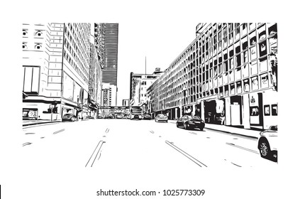 Downtown with road and building view of Miami City in Florida, USA. Hand drawn sketch illustration in vector.