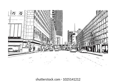 Downtown road view with buildings of Miami City in Florida, USA. Hand drawn sketch illustration in vector.