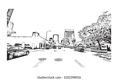 Downtown road view with buildings of Orlando City in Florida, USA. Hand drawn sketch illustration in vector.
