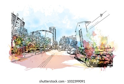 Downtown road view with buildings of Orlando City in Florida, USA. Watercolor splash with Hand drawn sketch illustration in vector.