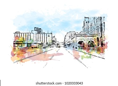 Downtown street with buildings view in Nashville, Tennessee, USA. Watercolor splash with hand drawn sketch illustration in vector.