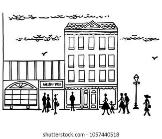 Downtown Street Scene - Retro Clip Art Illustration