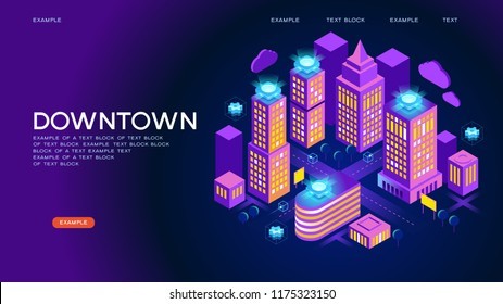 downtown vector concept. Concept home with technology system. 3d isometric vector illustration.