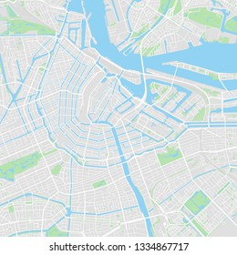 Downtown vector map of Amsterdam, Netherlands. This printable map of Amsterdam contains lines and classic colored shapes for land mass, parks, water, major and minor roads as such as major rails