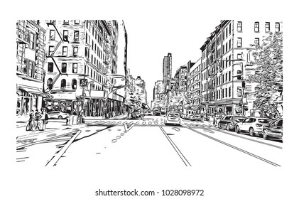 Times Square New York City Sketchy Stock Illustration Royalty Free