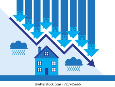 Downward arrows and rain clouds a metaphor on a property market slump.