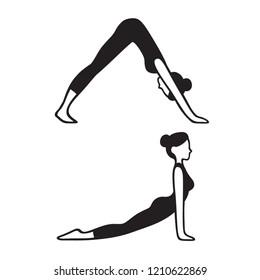 Downward facing dog (Adho mukha svanasana) and Upward facing dog (Urdhva mukha svanasana) yoga pose. Slim young woman in yoga asana, simple black and white drawing. Isolated vector illustration.