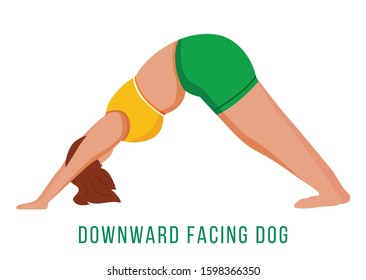 Downward facing dog flat vector illustration. Adho Mukha Shvanasana. Caucausian woman performing yoga posture in green and yellow sportswear. Workout. Isolated cartoon character on white background