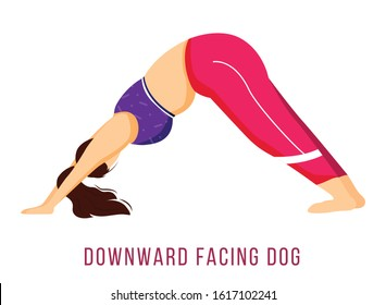 Downward facing dog flat vector illustration. Adho Mukha Shvanasana. Caucausian woman performing yoga posture in pink and purple sportswear. Workout. Isolated cartoon character on white background