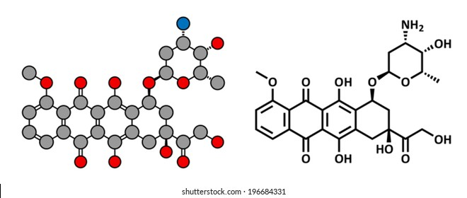 Doxorubicin cancer chemotherapy drug, chemical structure. Conventional skeletal formula and stylized representation, showing atoms (except hydrogen) as color coded circles.