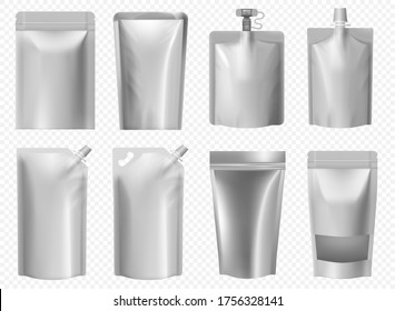 Doy pack template. Foil pouch for liquid food, juice, mayonnaise, ketchup. Blank doypack package mockup set. Silver plastic bag with zipper lock. Aluminum packaging for coffee and soups.