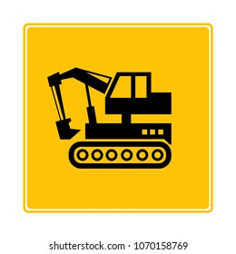 dozer, excavator icon in yellow background