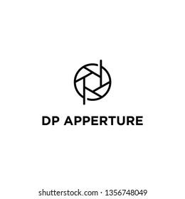 dp apperture lens logo design, logo template vector icon