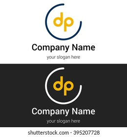 DP business logo icon design template elements. Vector color sign.