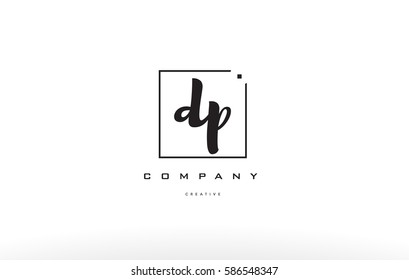 dp d p hand writing written black white alphabet company letter logo square background small lowercase design creative vector icon template