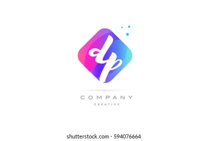 dp d p  pink blue rhombus abstract 3d alphabet company letter text logo hand writting written design vector icon template