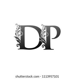 DP D PLetter Logo With Luxury Floral Design. Vintage drawn emblem for book design, brand name, business card, Restaurant, Boutique, Hotel. Vector illustration
