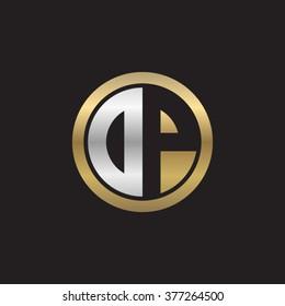 DP initial letters circle elegant logo golden silver black background