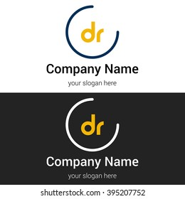 DR business logo icon design template elements. Vector color sign.