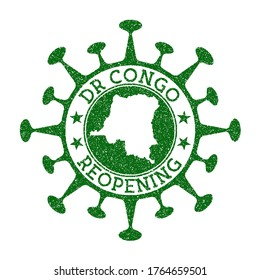 DR Congo Reopening Stamp. Green round badge of country with map of DR Congo. Country opening after lockdown. Vector illustration.