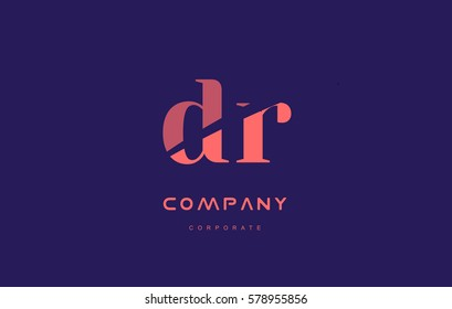 dr d r alphabet small letter blue pink creative design vector company logo icon template
