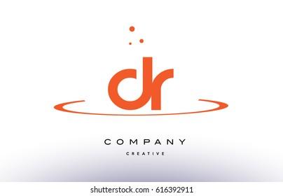 DR D R creative orange swoosh dots alphabet company letter logo design vector icon template