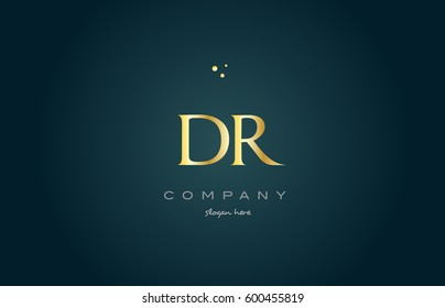 dr d r  gold golden luxury product metal metallic alphabet company letter logo design vector icon template green background