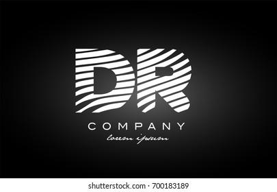 DR D R letter logo combination black white alphabet vector creative company icon design template modern