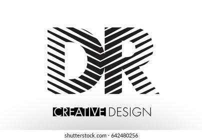 DR D R Lines Letter Design with Creative Elegant Zebra Vector Illustration.