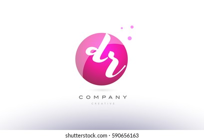 dr d r  sphere pink 3d alphabet company letter combination logo hand writting written design vector icon template