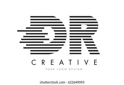 DR D R Zebra Letter Logo Design with Black and White Stripes Vector