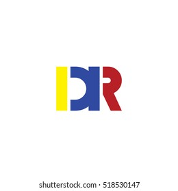 DR flat initial letter logo combining yellow blue red