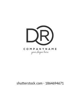 DR Initial letter logo inside circle shape inside rounded black monogram
