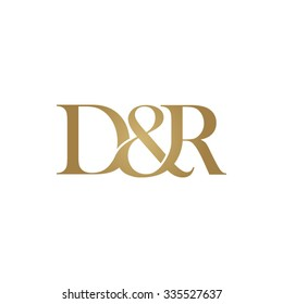 D&R Initial logo. Ampersand monogram golden logo