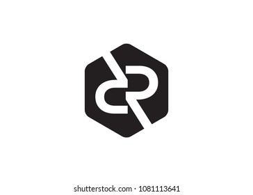 DR Initial Logo designs with hexagonal background